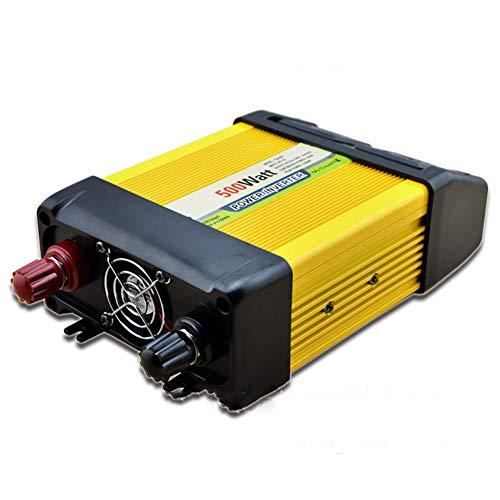 DINVERTER Power Inverter 500W Sinus-Wellen-Fahrzeug-Konverter DC 12V Bis 220V AC Power Inverter Mit 2 USB-Anschlüsse Und Netzbuchse Yellow 12V to 220V 500W