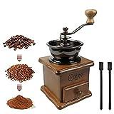Hantehon Molinillo de café manual vintage, molinillo de café portátil, máquina de mano con 2 pinceles, ideal para el hogar, la oficina y los viajes.