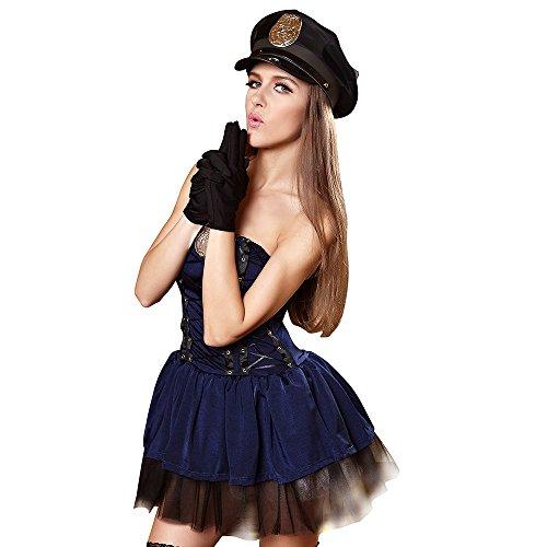 FIZZENN Frauen Sexy Bad Cops Kostüm Polizistin Outfit Cosplay Halloween Kostüm,M