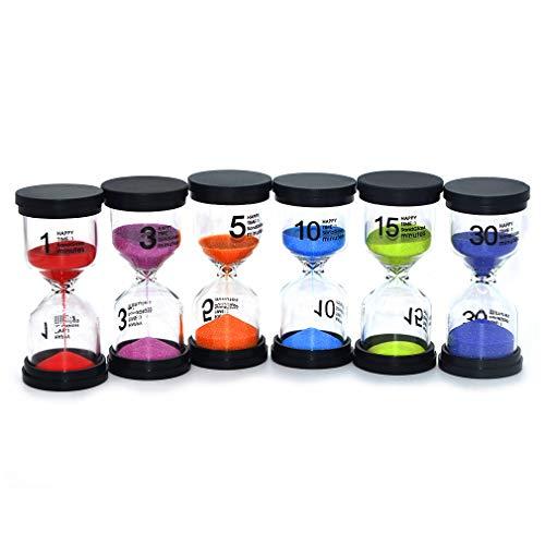 Kids hourglass timer Sand Clocks Timer for Kids Sand Glasses Best Gift for Children One Set Includes 1 min,3min, 5min, 10min 15min 30min Sand Clock Best Seller