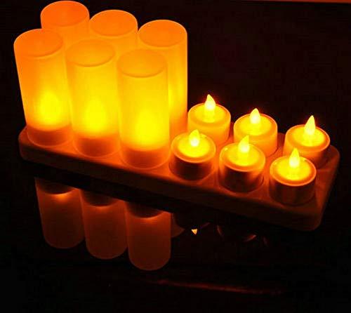 HDHUIXS Practicidad Set de 12 Velas LED con Mando a Distancia Que oscila Helado Recargables Luces de Té/Barra de Boda Electrónica Lámpara de la Vela de Navidad Firme (Color : Amber)