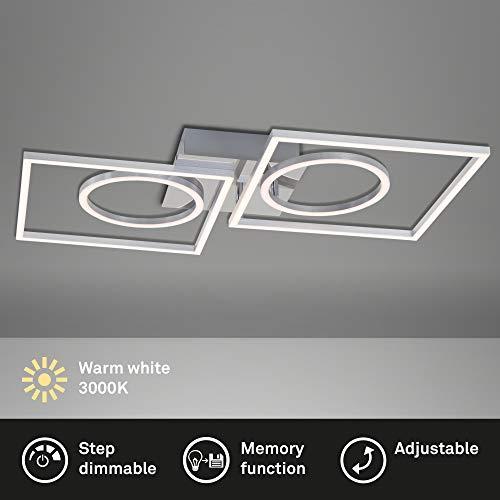 Briloner Leuchten - LED Deckenleuchte, Deckenlampe dimmbar, inkl. Memoryfunktion, 2 LED-Module drehbar (rund & quadratisch), 43,8 Watt, 3.600 Lumen, 3.000 Kelvin, Chrom-Alu, 656x520x96mm (LxBxH)