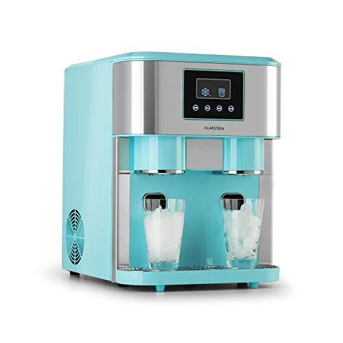 Klarstein Eiszeit Crush - Máquina de hielos 3 en 1, Cubitos, Hielo picado, Agua helada, 2 tamaños de cubitos, 15-18 kg 24h, Pantalla LCD, Depósito de 1,8 L, Volumen para 600 g de hielo, Azul pastel