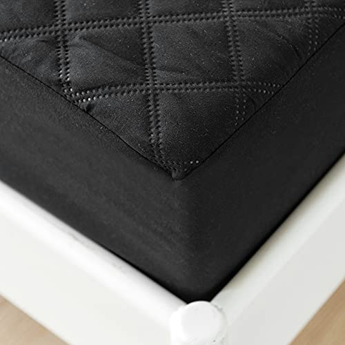 Quilted Waterproof Mattress Protector Single Size,Microfiber Quilted Fitted Sheet Single Bed,35cm Extra Deep Mattress Cover/Topper (Black, Single)