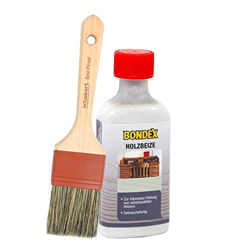 Bondex Holzbeize inkl. Beizpinsel, Wasserbeize in 20 Farbtönen zur Auswahl (250 ml, hellgrau)