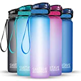 Smitave Sport Water Bottle, 1 Litre Motivational Water Bottle - BPA Free Reusable Tritan Plastic with Filter, Wide Mouth & Secure Locking Lid for Running, Fitness,Outdoor and Cycling(Blue Purple)
