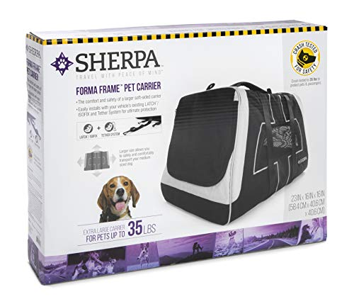 Sherpa Forma Frame Airline Approved Crash Tested Pet Carrier, Black, X-Large, Forma Frame Airline Approved, Crash Tested Pet Carrier, Black, X Large
