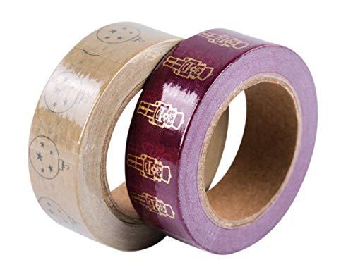 Rayher 50121000 Kit Washi Tape Casse-Noix Ass, 15mm, rouleau 10m,2 designs, 2pcs