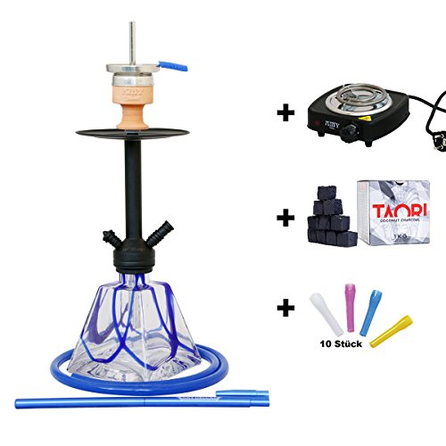 AMY Deluxe Vega AMY 651 - Shisha (incluye encendedor de carbón, carbón natural y boquillas higiénicas)