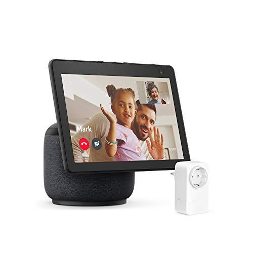 Nuevo Echo Show 10 (3.ª generación), Antracita + Amazon Smart Plug (enchufe inteligente WiFi), compatible con Alexa