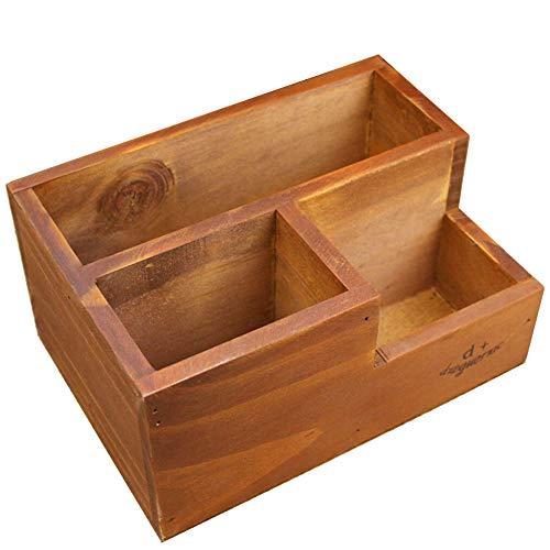 Coideal - Suministros de oficina organizador/organizador de escritorio de madera con soporte de caja de madera para escritorio, suministros de oficina, hogar, mesa auxiliar