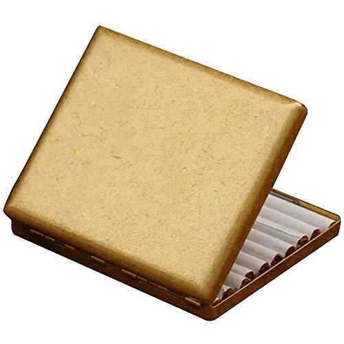 CIGARETTE CASE RDJSHOP La pitillera Personalizada for Hombres con cepillos Plateados ultradelgados Puede Contener 20 Cigarrillos. (con Caja de Regalo) (Color : Brass)