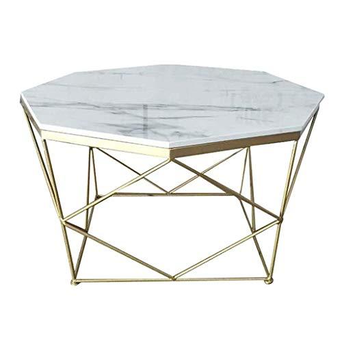 Creative moderne minimalistische salontafel Einde van de eeuw salontafel achthoekige salontafel, kunstmatige marmeren blad stabiel geometrisch goud base, die wordt gebruikt for sofa tafel Licht luxe-a