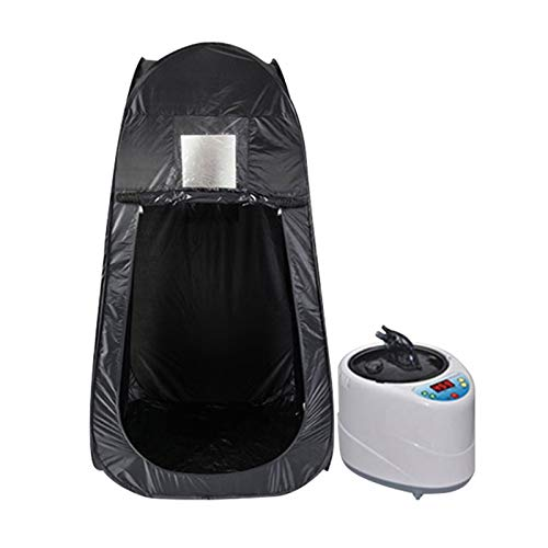 SYN-GUGAI Sauna box Large Portable Personal Steam Sauna Box, Foldable Sauna Tent, Lose Weight and Detoxify at Home, Equipped with 2L Steam Generator and Remote Control 90 * 90 * 180cm, Black