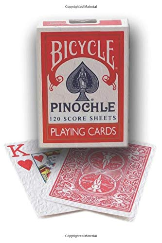 Pinochle Score Pad 120 score sheets : Bicycle Pinochle standard deck playing card games Scoresheet Record Book:   Pinochle Score Cards   Meld Table   ... for pinochle card games   white matte cover  