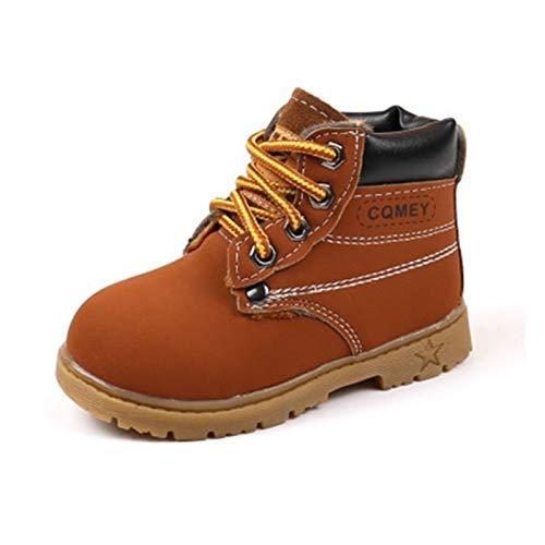 Youpin Botas de otoño invierno para niños de piel sintética cómodas para niños y niñas, zapatos de bebé, botas de nieve para niños (color: 01 marrón, talla de zapato: 12)