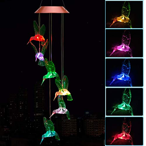 ME9UE Solar Hummingbird Wind Chimes, Outdoor Waterproof Mobile Romantic LED Multi Color-Changing Solar Sensor Powered Lights for Home, Yard, Night Garden, Party, Valentines Gift, Festival Decor