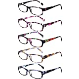 Reading Glasses 5 Pairs Stylish Color Readers Fashion Glasses for Reading Men & Women (5 Pack Mix Color, 5.00)