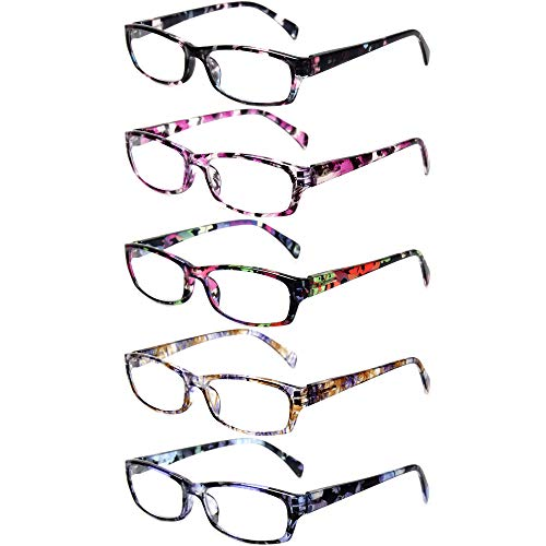 Reading Glasses 5 Pairs Stylish Color Readers Fashion Glasses for Reading Men & Women (5 Pack Mix Color, 1.75)