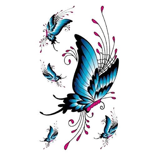Strass ET Paillettes - Mini Tatouages éphémères Papillon Bleu Waterproof - Tatoo temporaire - Bijou de Peau Papillon