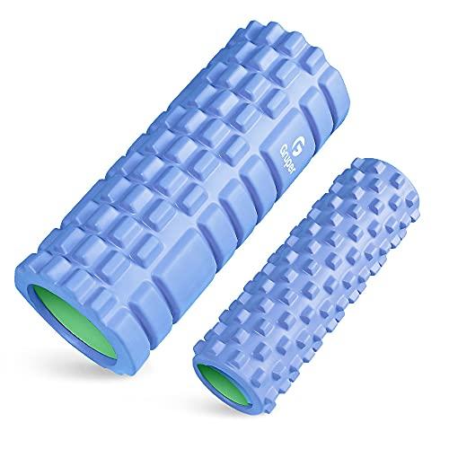 Gruperフォームローラー 筋膜リリース 大小2個セット 筋膜ローラー ストレッチローラー グリッドフォームローラー (グリーン+パープル); セール価格: ¥1,750