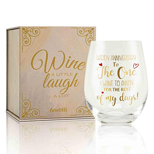 Valentines Day Gifts, Anniversary Day for Wife from Husband, 17oz Stemless Wine Glass for Her & Wife & Girlfriend, Perfect for Birthday, Wedding, Engagement, Couple