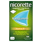 nicorette Kaugummi 2 mg Nicotin zuckerfrei freshfruit, 105 St. Kaugummi