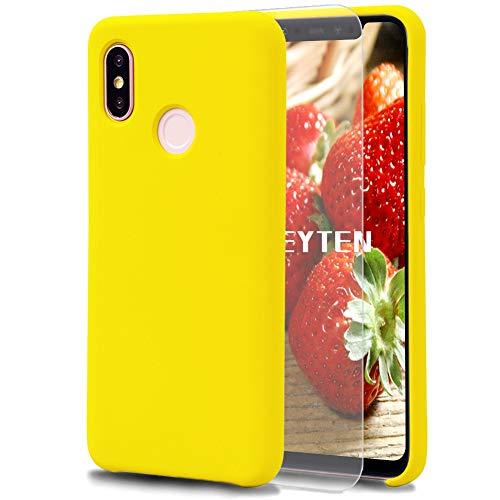 Feyten Kompatibel mit Xiaomi Mi 8 Hülle [mit Bildschirmschutz], Silikon Schutzschale Handyhülle Schutzhülle Bumper Hülle Schutz vor Stoßfest/Scratch Cover (Gelb)