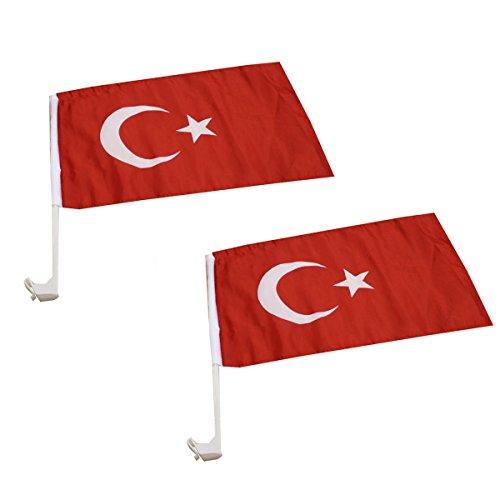 Sonia Originelli 2er Set Auto Flagge Fahne WM Länder Fußball Fan Farbe Türkei
