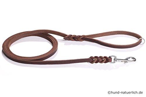 hund-natuerlich Fettlederleine 1m braun mit Handschlaufe, Ring + Chrom Haken Lederleine (1m x 8mm)