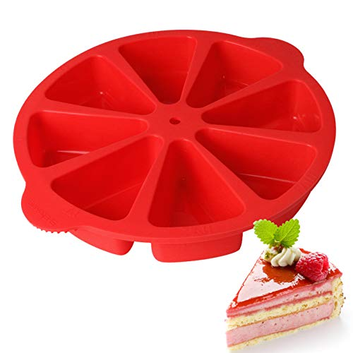 Congis Donut Pan, Cake Slice Molds,Baking Molds Scone Pan,Silicone Baking Mold Triangle, Triangle 8 Cavity Silicone Portion Doughnuts Biscuit Cake Mold Soap Mould Pizza Slices Pan(Red)
