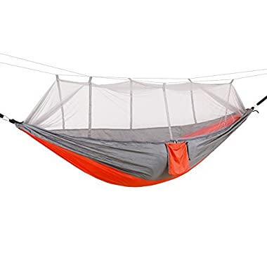 SunnyRoyal Camping Hammock with Mosquito Net Lightweight Parachute Nylon Portable Double Hammock for Hiking Backpacking Backyard Outdoor Jungle with 440 lbs Load Capacity(102 ×55 )(Gray Orange)