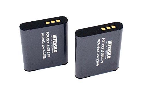 INTENSILO 2 x Li-Ion Batteria 1050mAh (3.7V) per Fotocamera Camcorder Video Olympus Tough TG-Tracker come Li-90B, Li-92B.