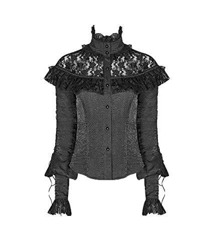Punk Rave Viktorianische Rüschen Bluse mit Spitze hochgeschlossen Gothic (XL)