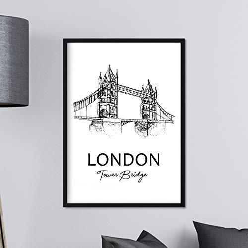 Poster de Londres - Tower bridge. Láminas con monumentos de ciudades. Tamaño A3