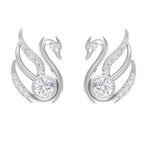 Rosec Jewels 14 quilates oro blanco Round Brilliant Moissanite