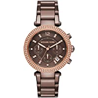 Michael Kors Parker Stainless Steel Watch With Glitz Accents (Brown/Sable)