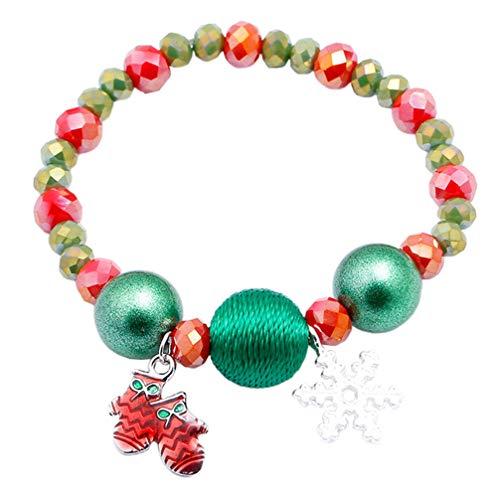 Amosfun Kerst Armbanden voor Vrouwen Kralen Armbanden Bedel Armbanden Hanger Polsband Xmas Sieraden Gift Nieuwjaar Party Favors