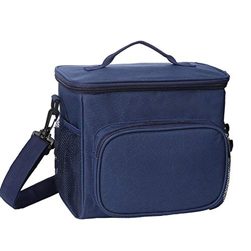 Couleur unie double couche Déjeuner Sac isothermiques nourriture pique-nique Sac portable épaule Boîte à lunch ToteMeal Container Box (Color : Blue)