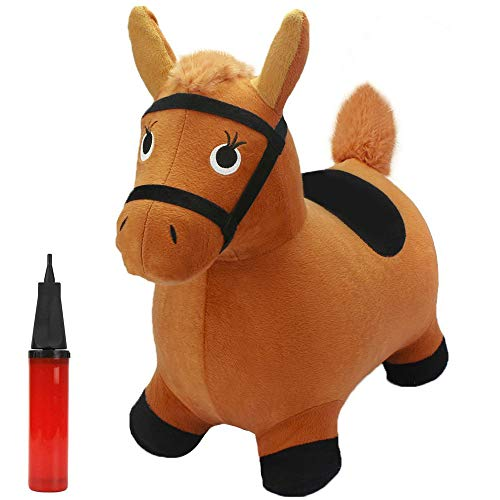 iPlay, iLearn Brown Hopping Horse, Inflatable Ride on Animal Hopper Toys, Indoor Outdoor Bouncy Riding, Plush Cover W/ Pump, Jump Active Gifts for 18 24 Month, 2 3 4 5 Year Olds Kids Toddler Boy Girl