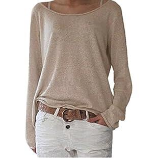 Customer reviews ZANZEA Women's Sexy Casual Autumn Loose Round Neck Long Sleeve Tops Blouse Jumper T-Shirt Beige M