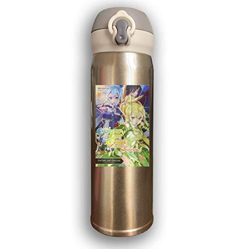 Acero Inoxidable con Aislamiento al vacío Botella de Agua de Acero Inoxidable Sword Art Arte en línea Moda Termo Taza para Bebida fría Caliente Café o té Amarillo