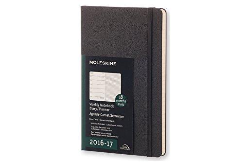 Moleskine Wochen Notizkalender, Taschenkalender, 18 Monate, 2016/2017, Groß, A5, Hard Cover, schwarz