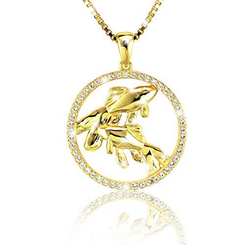 PAVEL´S elegante Damen Halskette Kette Sternzeichen FISCHE 18K Gold plattiert mit glänzenden Kristallen aus der Kollektion SHINE inkl. einer edlen PAVEL'S Schmuckbox