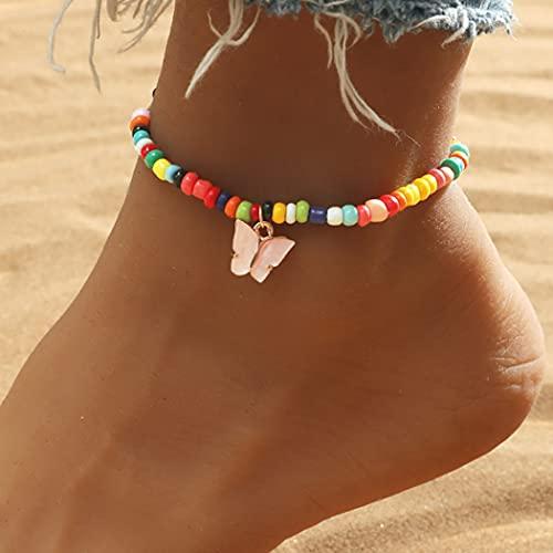 Fashband Boho Schmetterling Türkis Fußkettchen Bunte Perlen Knöchel Armband Sommer Strand Anhänger Fußkette Schmuck Zubehör für Frauen und Mädchen