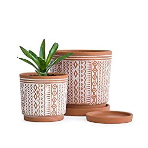 Set of 2, Terracotta Totem Design Planter Pot, 4 Inch and 6 Inch, Ceramic Plant Pot with Drainage Hole and Tray, Terracotta/White, Small, A-958-1-1