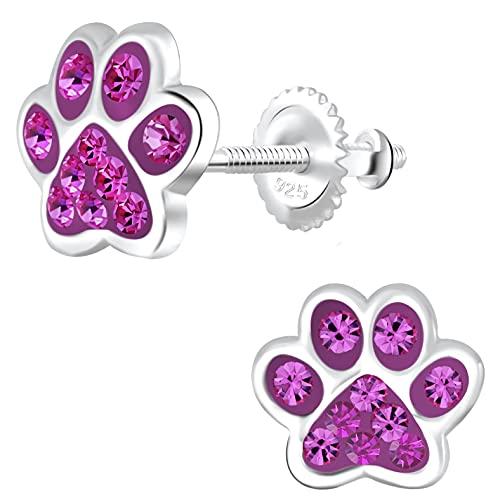 miimago Pendientes infantiles con diseño de huellas de perro, plata de ley 925, cristales brillantes, para niñas, regalo de joyería, Plata de ley,