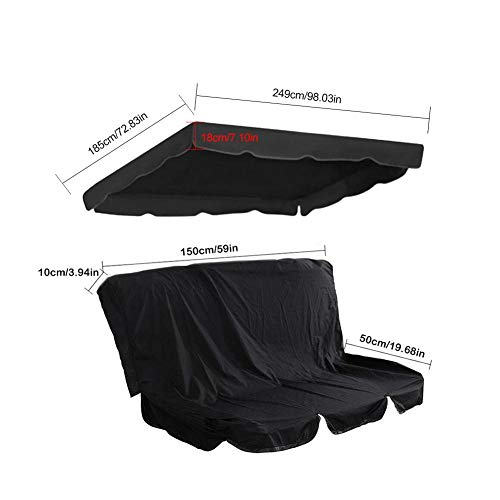 Ksruee 3-Sitzer Ersatzdach Schaukelbezug, 210D Swing Canopy Top Cover, wasserfest, UV-beständig, Schaukelauflage, für Gartenschaukel Schaukelbank