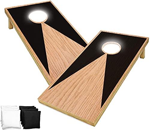 Original Offizielles Cornhole   Amerikanisches Cornhole mit LED-Leuchten   Offizielle Abmessungen   2 Bretter + 8 Taschen + 1 Schutzhülle   Spiele für draußen und am Strand   OriginalCup®