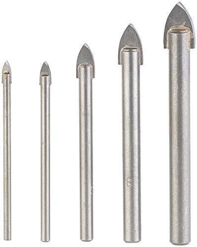 AGT NX-5832 Professional Glasbohrer: 5-teiliges Bohrer-Set für Glas & Fliesen, 4/5/6/8/10 mm, sandgestrahlt (Keramikbohrer), silber